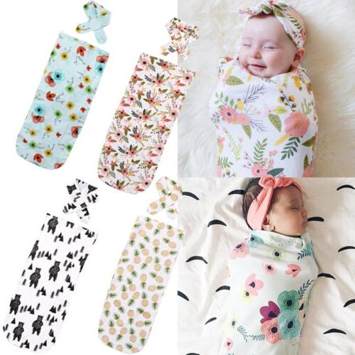 Toddler Baby Soft Cotton Floral Swaddling Swaddle Muslin Wra