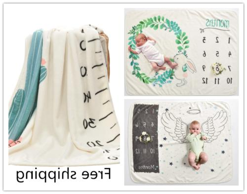 newborn baby monthly growth milestone blanket photography