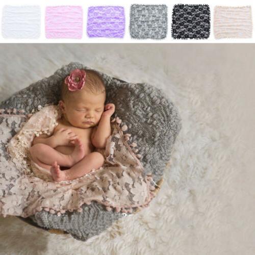 Newborn Baby Prop Blanket Toddler Tassel Lace Flower Wrap Ph