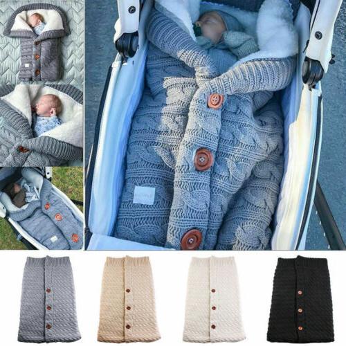 Newborn Baby Sleeping Bag Blanket Knit Crochet Swaddle Strol