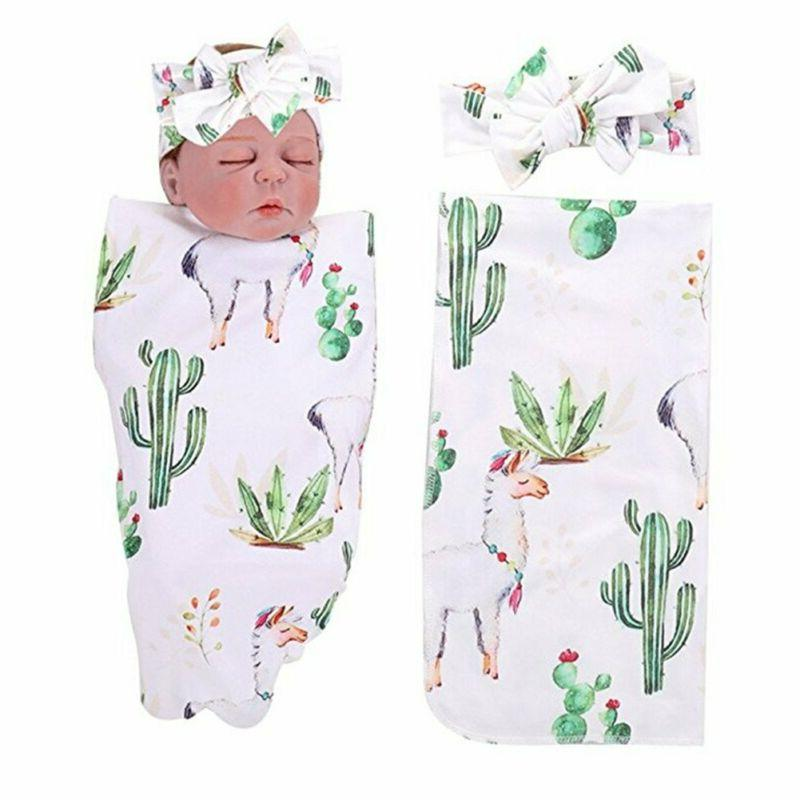 PROBABY Newborn Baby Swaddle Blanket Cactus and Llama Print