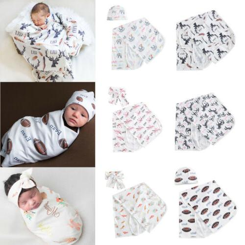 newborn blanket headband hat set baby boy