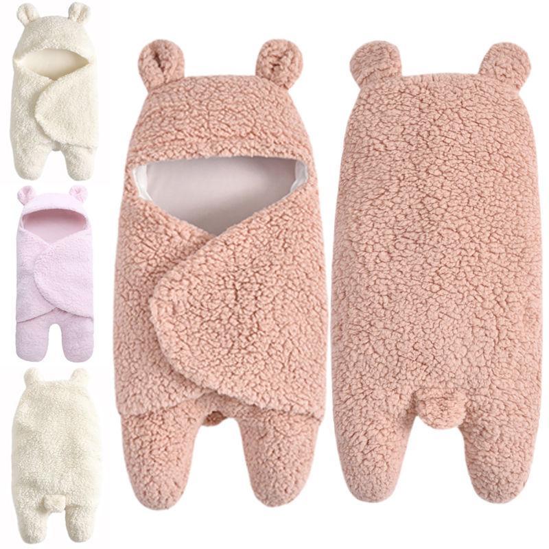 Newborn Baby Fleece Teddy Bear Blanket Swaddle Hooded Wrap S