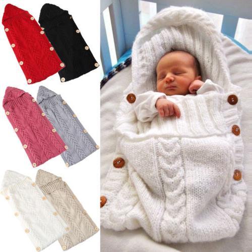 Newborn Girl Blanket Knit Warm Wrap Bag