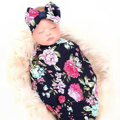 Newborn blanket headband set flower print swaddle receiving ga