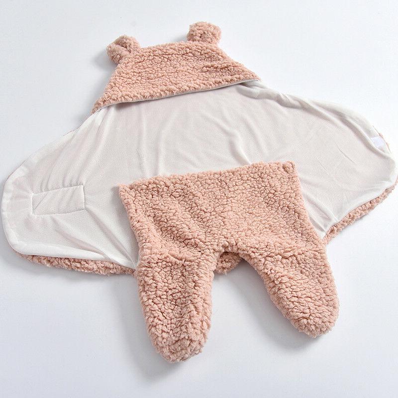 Toddler Newborn Baby Fleece Swaddle Wrap Sleeping Bag Winter