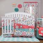NURSERY 4pc Floral Swirl GIRLS BEDDING SET Baby Crib Teal Co