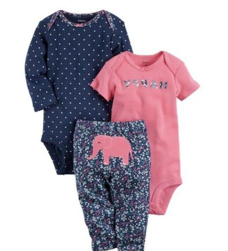 nwt baby girl carters 3pc elephant outfit