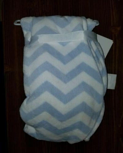 NWT Cozy Baby blanket blue white zig zag chevron striped + m