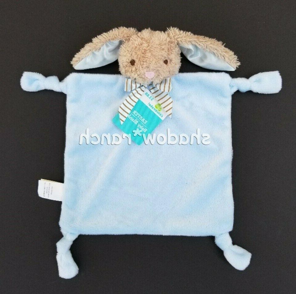 NWT Dan Dee Blue Bunny Rabbit Security Blanket Rattle Knotte