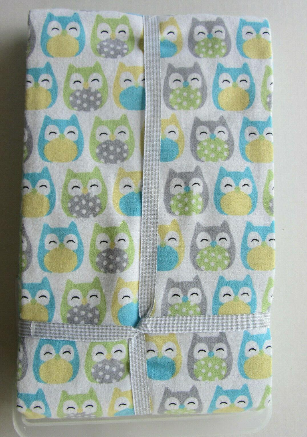 NWT Carter's Owl Flannel 4 Pack Receiving Blankets Blue