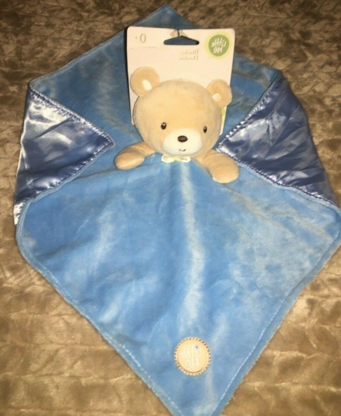 NWT Little Me Bear Security Blanket Lovey Blue silky satin K