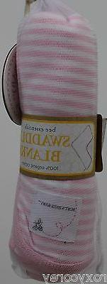 NWT Burt's Bees Baby Set of 2 Pink Stripe Swaddling Blankets