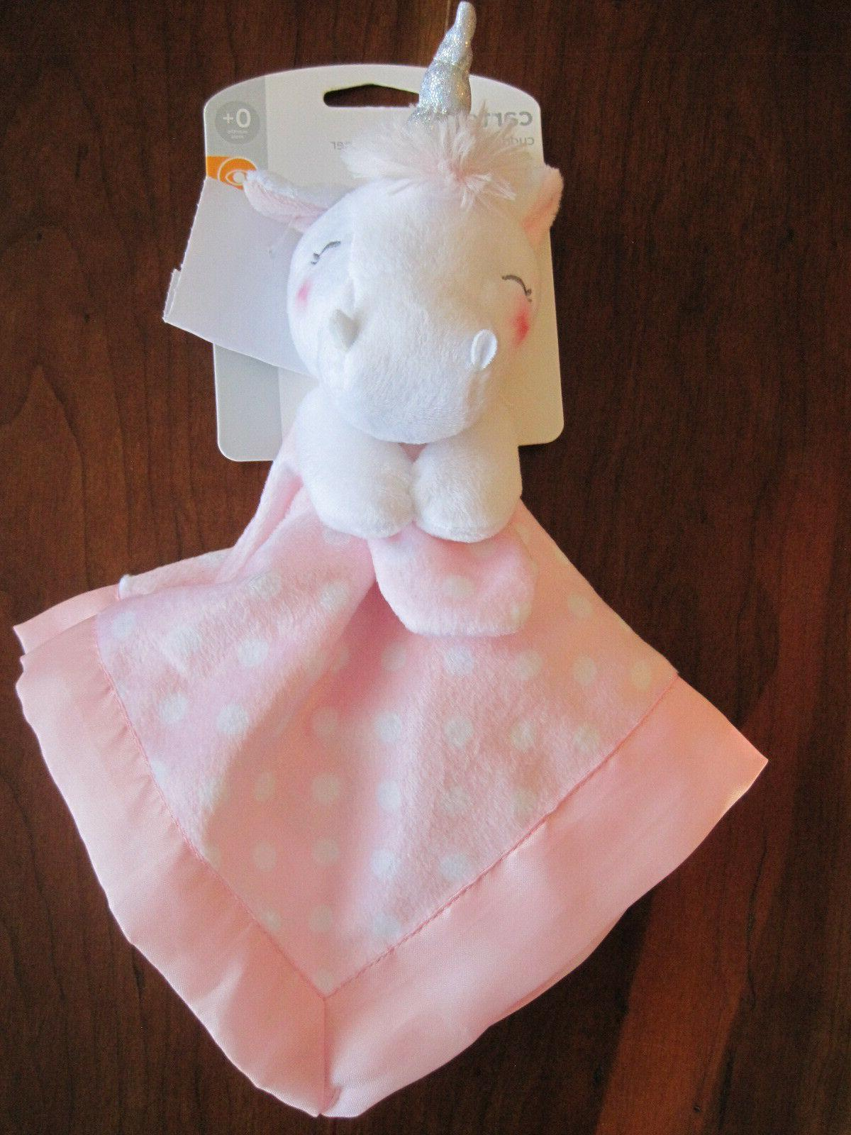 NWT CARTER'S Pink White Unicorn Plush Satin Lovey Security B