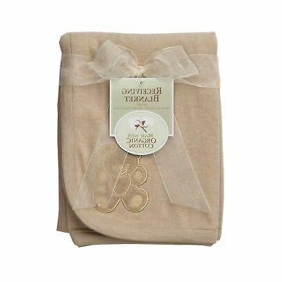 organic embroidered receiving blanket