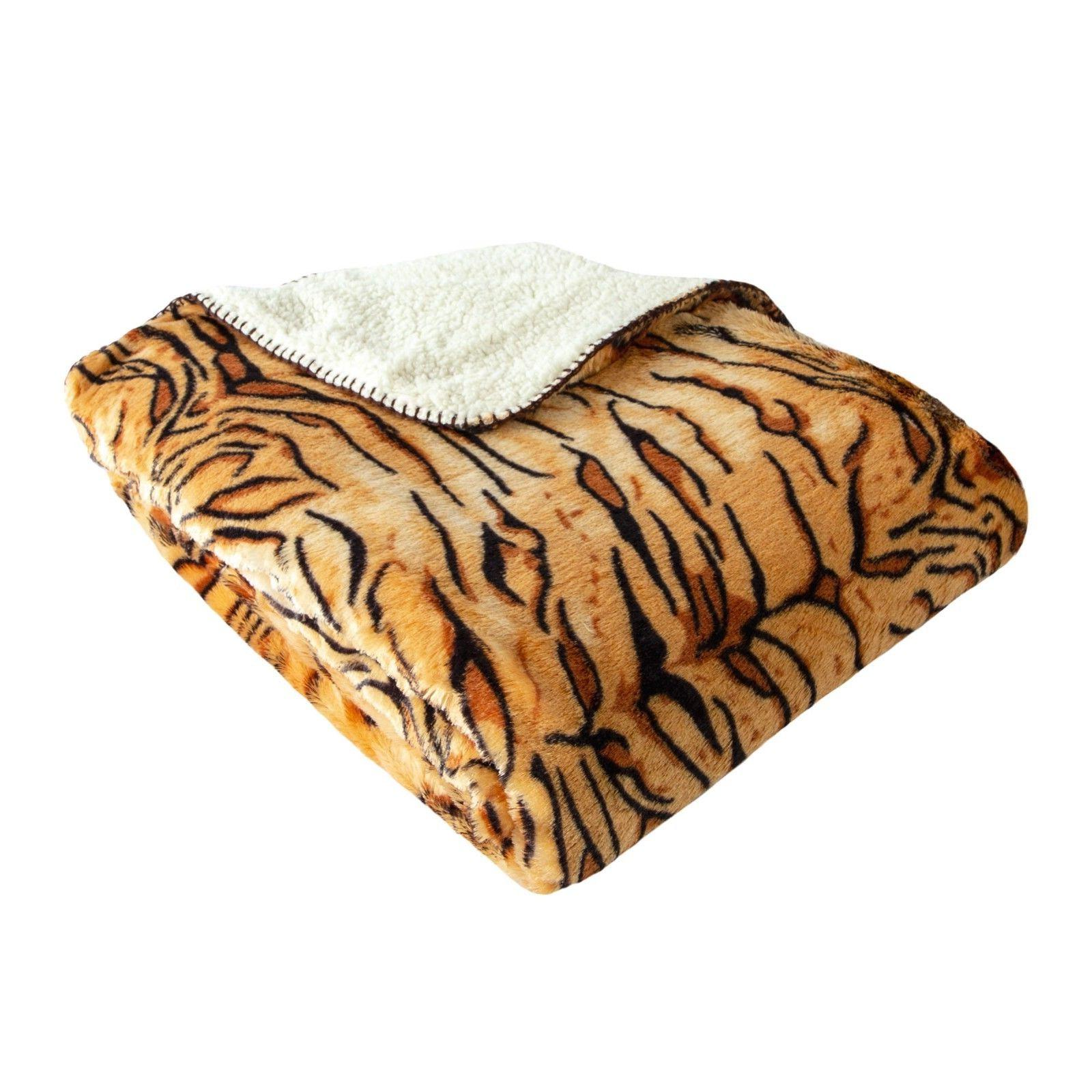 Oversized Luxury Mink Print Throw with Sherpa Back