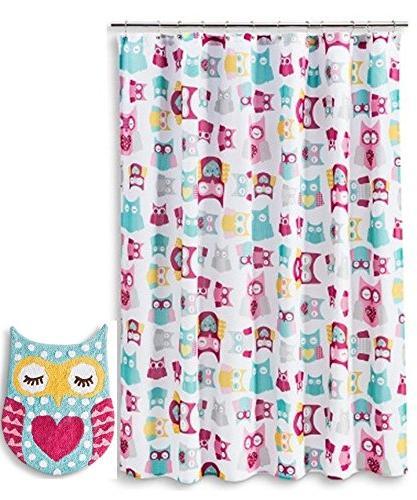 owl shower curtain bath rug