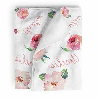 Lovable Gift Co Personalized Fleece Baby Girl Blanket, Coral