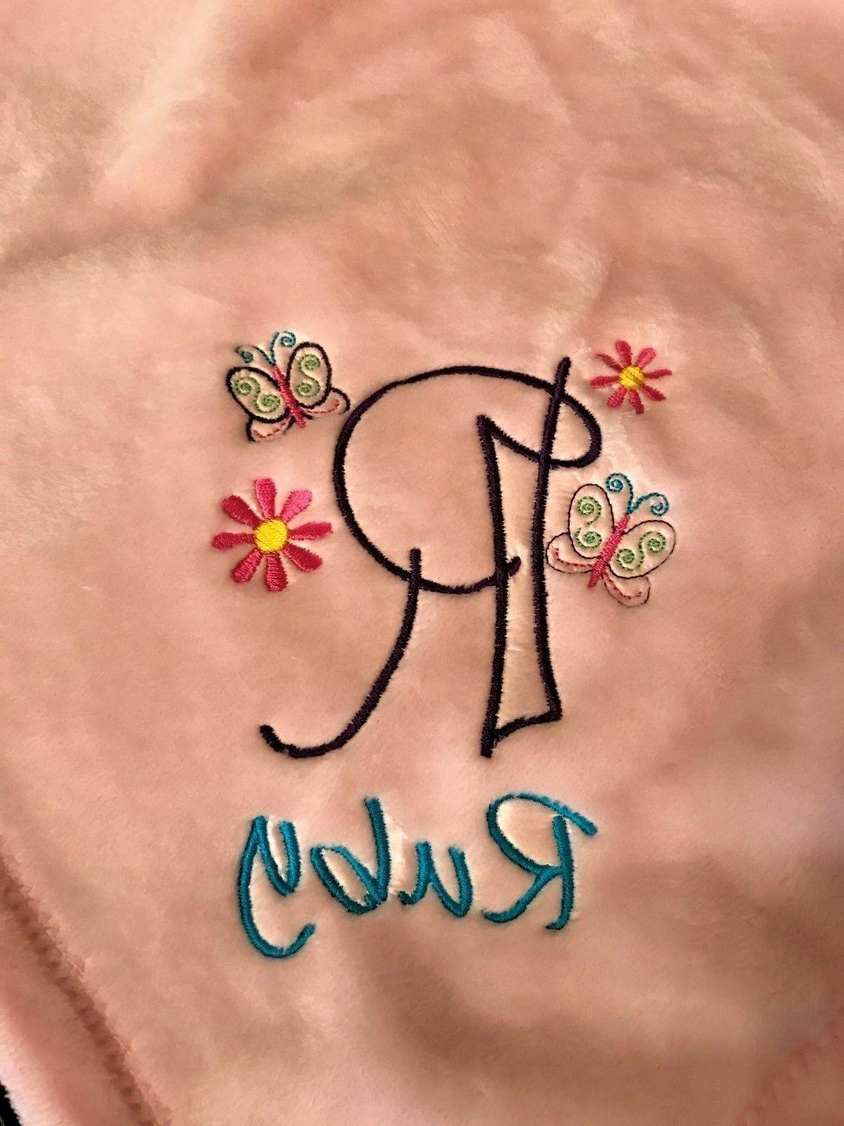 personalized monogrammed embroidered soft mink touch baby