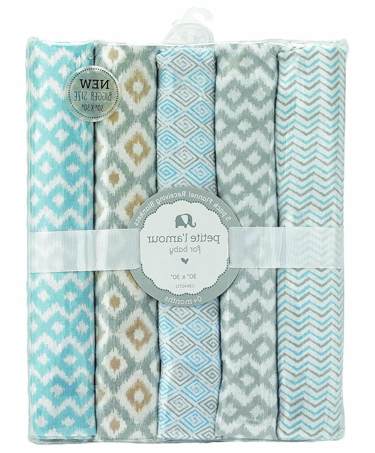 Petite L' amour Baby 5 Piece Receiving Blanket, Blue/White