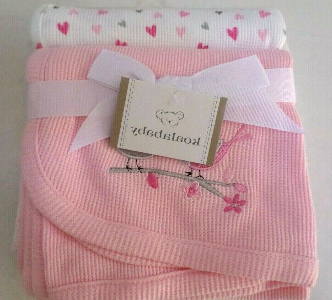 Koala Baby Pink Bird 2 Pack Thermal Blanket