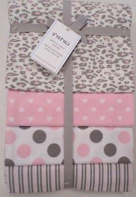 Carter's Pink/Grey Cheetah 4 Pack Flannel Receiving Blanket