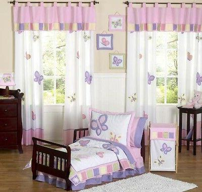 Pink and Purple Butterfly Collection Toddler Bedding 5 pc se