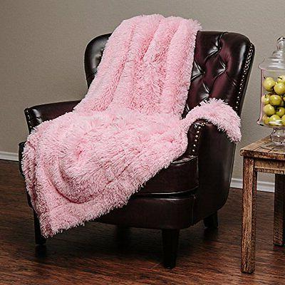 Pink Soft Long Shaggy Chic Faux Fur Elegant Throw Blanket by