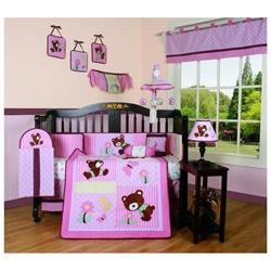 Pink Teddy Bear 13-piece Crib Bedding Set