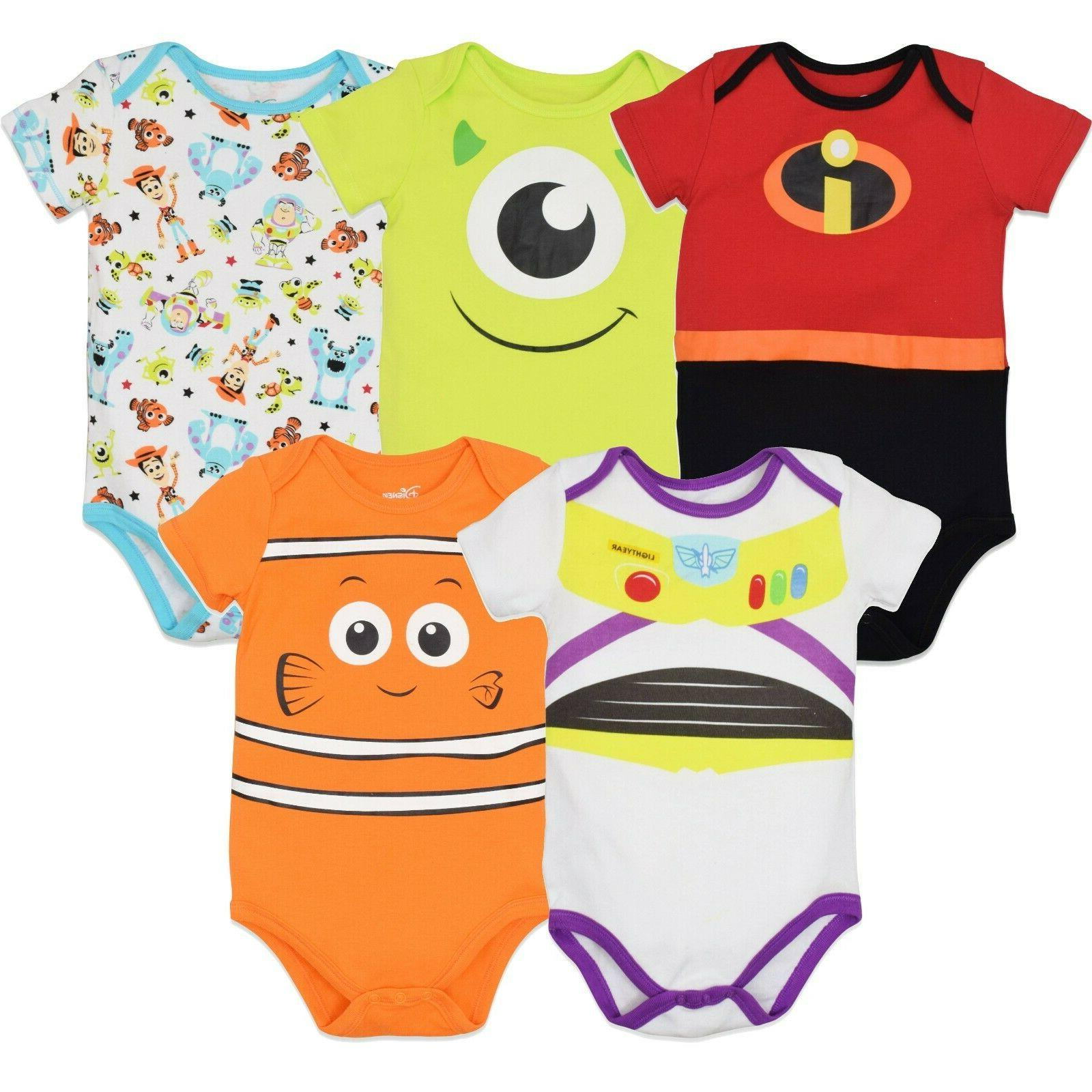 pixar baby boy girl 5 pack bodysuits