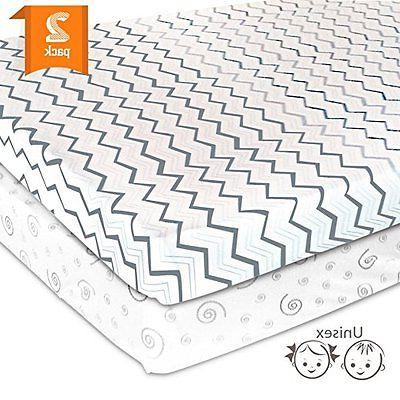 Playard Sheets Pack N Play Pack Of 2 Jersey Cotton Mini/Port