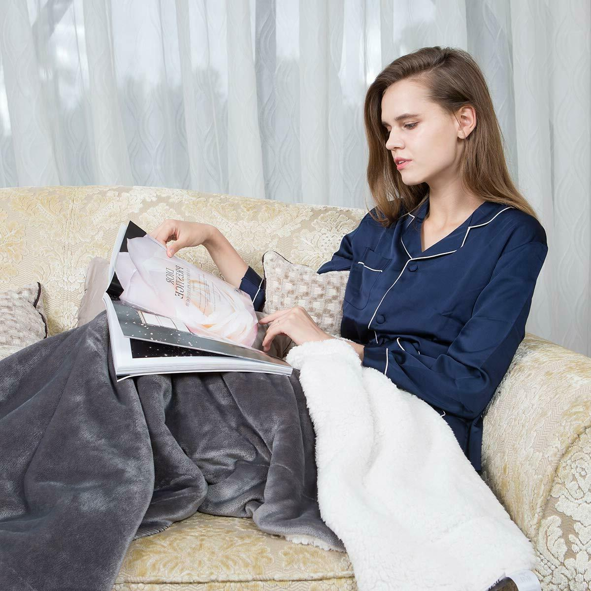 Plush Fuzzy Blanket for Couch Sofa Bed Microfiber