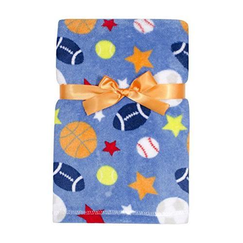Baby Gear Plush Velboa Ultra Soft Baby Boys Blanket 30 x 40 Sports