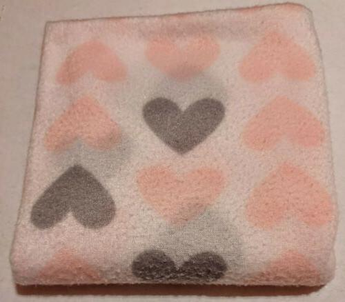 polyester baby blanket pink and grey hearts