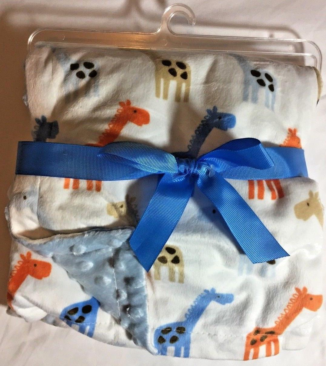 printed mink blanket with dotted backing blue