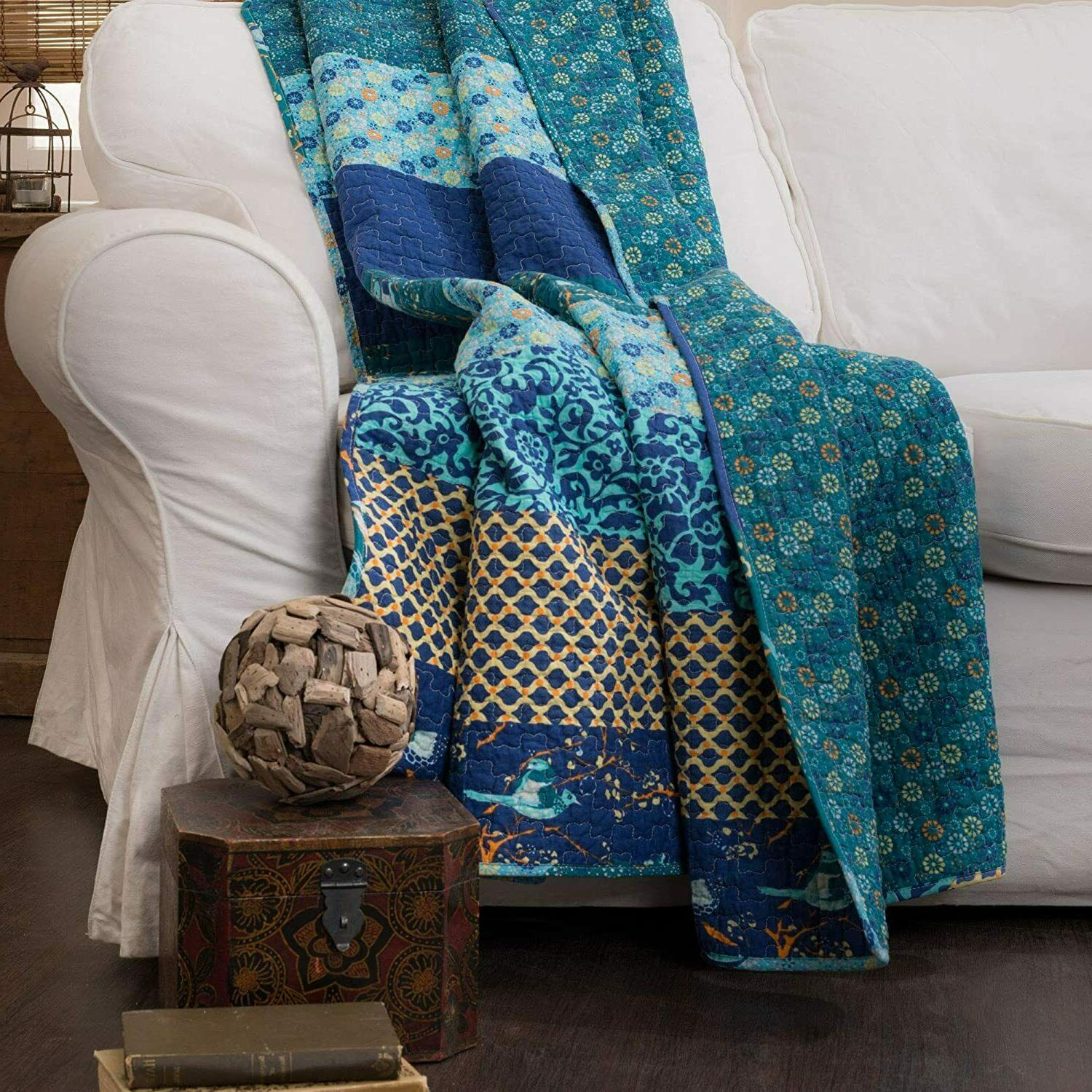 """Quilt Throw Blanket 50"""" x 60"""" 100% Cotton Striped Peacock Bl"""