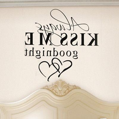 "Quote ""Always Kiss Me Goodnight"" Wall Decals Decal Bedroom DIY Decor"
