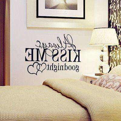 "Quote ""Always Kiss Me Goodnight"" Star Decal Bedroom Vinyl Decor"