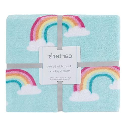 Carter's Rainbow Super Coral Blanket, Sky White, Pink, Yellow