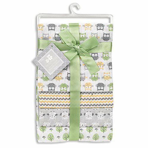 Regent Baby 4 Piece Cotton Receiving Blanket, White Geometri