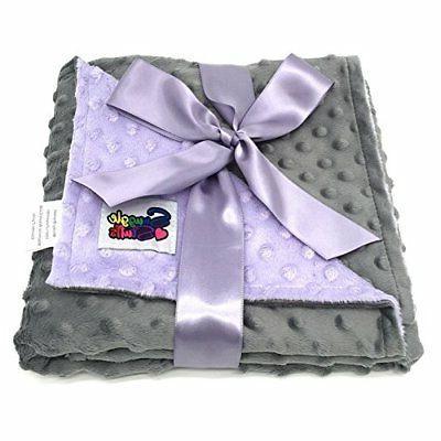 Reversible Unisex Children's Soft Baby Blanket Minky Dot Lav