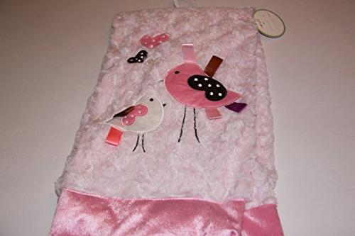 Lollypop Embroidered Blush Pink Birdie Baby Blanket