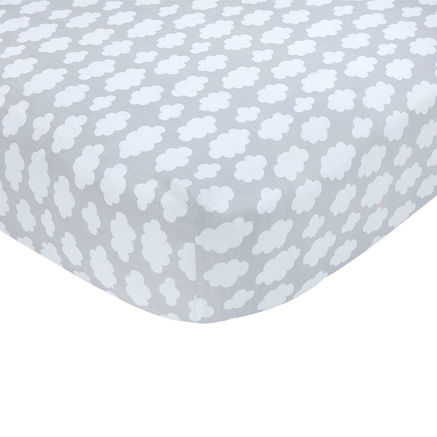 sateen gray cloud print crib
