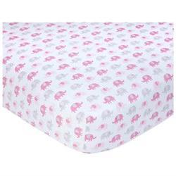 Carter's Sateen Pink/Gray Elephant Print Crib Sheet