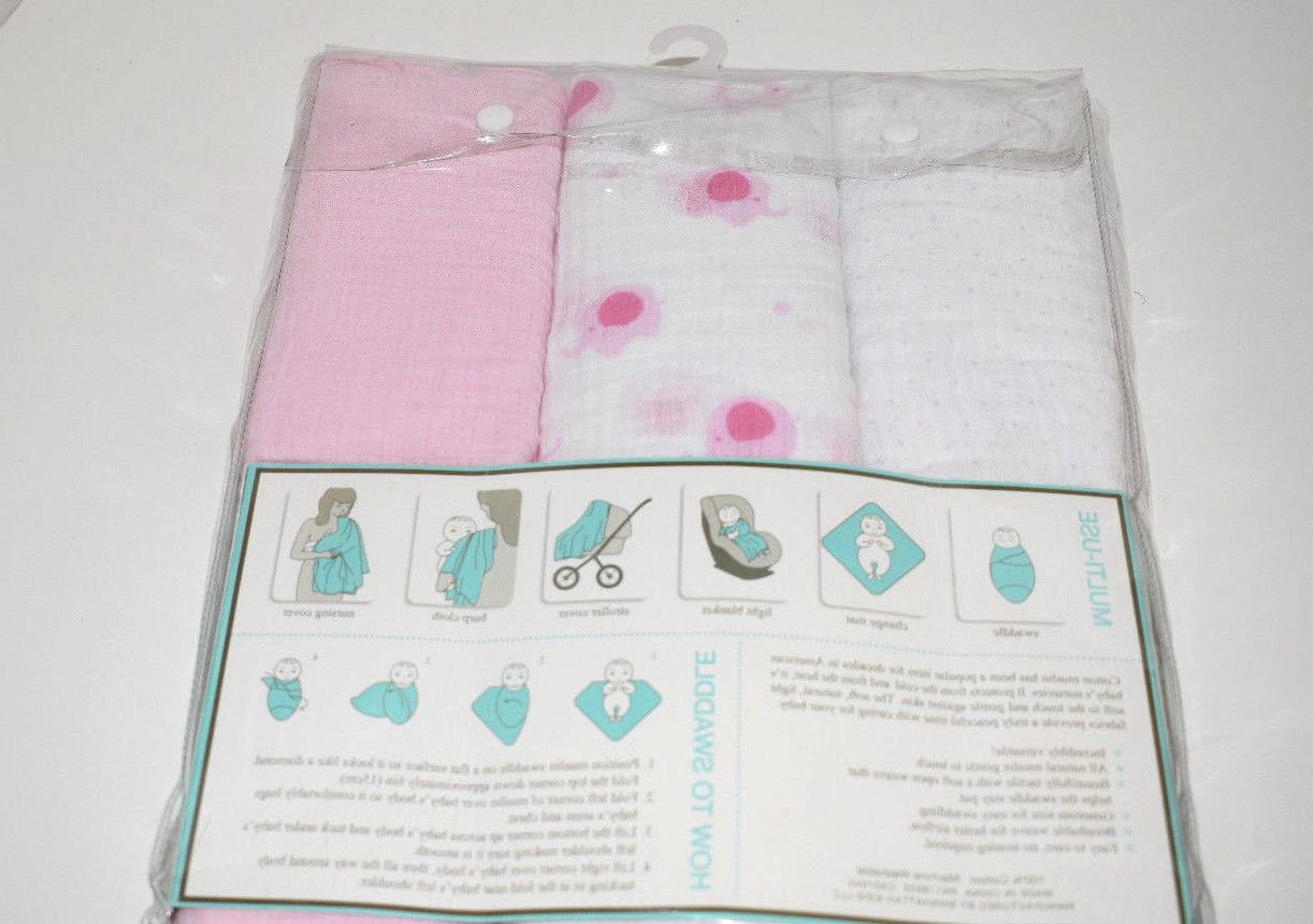 Lollypop Set of 3 Muslin Girls Pink - New Pk