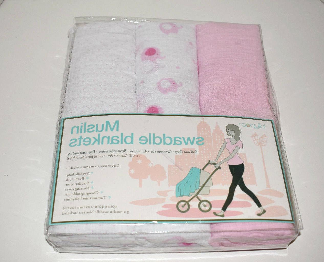 set of 3 muslin swaddle blankets baby