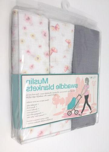 """Lollypop Muslin Swaddle Blankets Pink Peach Butterflies """" x 40"""""""