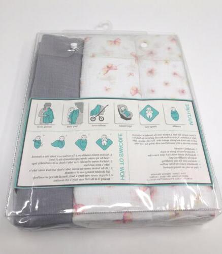 """Lollypop 3 Muslin Swaddle Blankets Pink Butterflies 40 """" 40"""""""