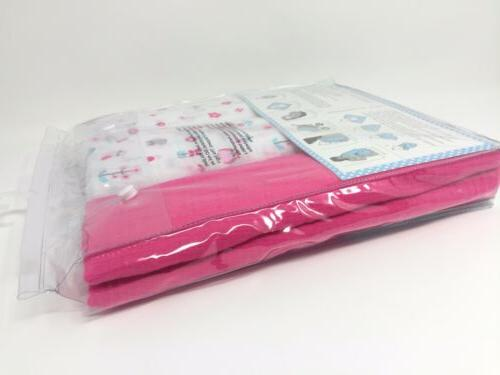 "Lollypop of 3 Muslin Blankets Pink Flowers 40 "" x"