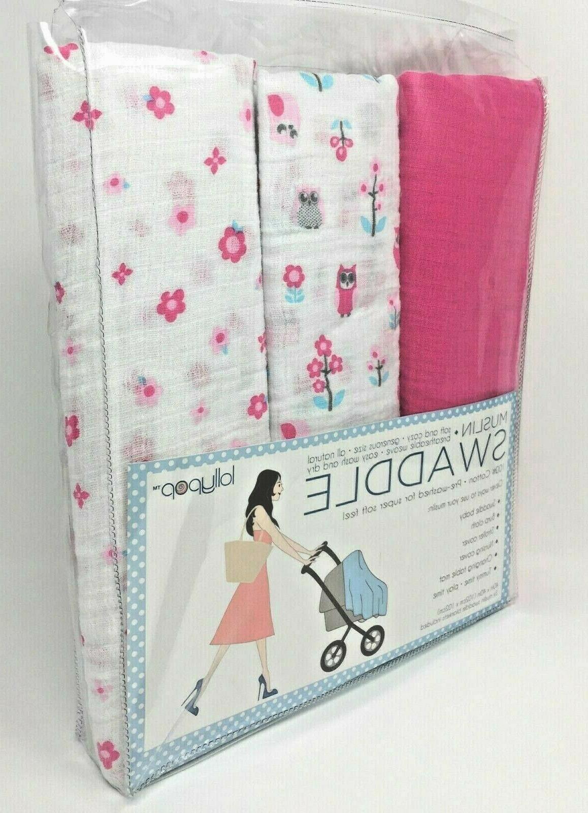 set of 3 muslin swaddle blankets pink